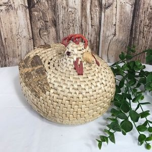 Vintage Woven Chicken Basket